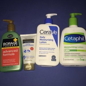 Borage therapy, Gold Bond, Cera Ve,Cetaphil